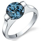 2.25 cts London Blue Topaz Engagement Ring Sterling Silver Sizes 5 to 9