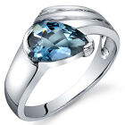 Pear Shape 1.50 cts London Blue Topaz Ring Sterling Silver Sizes 5 to 9