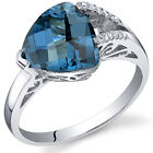 2.75 cts Checkerboard Cut London Blue Topaz Ring Sterling Silver Size 5 to 9
