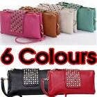 Ladies Designer Leather Style Double Zip Purse Clutch Bag Evening Handbag