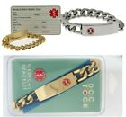 New DOC TOCK Stainless Steel or Gold Plated Medical Alert ID Bracelet