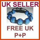 Shamballa Bling Friendship Blue Crystal Disco 9 Ball Bracelet 12mm Free UK P+P