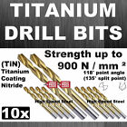 10x HSS FULLY GROUND TITANIUM NITRIDE COATING (+500%) DRILL BITS HEAVY DUTY £20