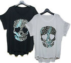 st176 Leopard SKull patch Loose Boxy fitting top