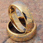Gold Tungsten Lord The Rings Set Wedding Bands LOTR Bridal Jewelry Size 6-13