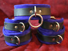 6 pc leather wrist ankle cuffs blue / choose color
