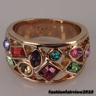 New Rose Gold GP Full of Colorful Swarovski Crystal Cocktail Fashion Ring IR039A