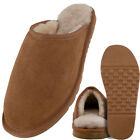 Lambland Mens Sheepskin Slipper Mules with Hard Wearing Sole - Chestnut