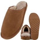 Mens Genuine Sheepskin Lined Mule Slippers with Lightweight EVA Sole