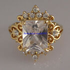 New 18K Yellow Gold GP Swarovski Crystal Square Solitaire Cocktail Ring XR016B
