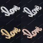 1x Crystal Love Shaped Side Way Bracelet Connector Charms Beads Findings DIY