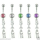 Cubic Zirconia Bitch Dangle Belly Bar / Navel Ring - Choose Colour
