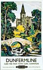 Vintage British Railways Dunfermline Abbey Railway Poster A3 / A2  Reprint