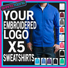 WORKWEAR BUSINESS COMPANY ZIPPED SWEATSHIRT EMBROIDERED FULL COLOUR LOGO X5