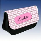 Personalised Pink Hearts Ladies Girl Make Up Cosmetics Case Bag Pencil Case Gift