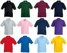 NEW CUSTOM PRINTED PERSONALISED SCHOOL LOGO KIDS FRUIT OF THE LOOM POLO SHIRTS