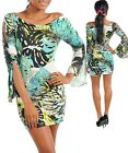 USA SEXY MULTI COLOR LONG CUT OUT SLEEVE BOAT NECK TURQUOISE BODYCON DRESS S M L
