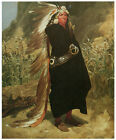 Portrait of an Indian Chief, c.1875- Valentine Bromley- Western Art on Canvas