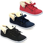 WOMENS LADIES SPORTS FUR LINED FLAT LACE UP HIGH HI TOP PUMPS TRAINERS SHOES