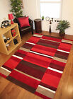 Red Wine Burgundy Brown Warm Rich Thick Quality Wool Checked Small Large XL Rugs
