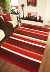 Warm Rich Red Wine Brown Striped Thick Wool Rug Small Large Handmade Carved Mats