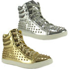 Ladies Womens High Hi Top Lace Up Stud Trainers Sneakers Pumps Ankle Shoes Boots