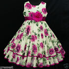 Cream/Beige c033 UkG X'mas Fuchsia Hotpink Birthday Dance Party Girl Dress 2-12y