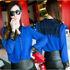 Korea Fashion Women Stand Collar Stitching Lace Chiffon Top Shirt Blouse 5195#