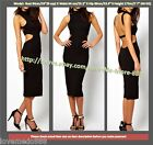 S-2XL Womens High Neckline Cut away out back waist pencil club party bodycon