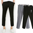 pkg0137 tetolon blend flat front cropped mans pants dendy look