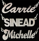 925 STERLING SILVER LARGE CARRIE ANY NAME DROP PLATE NECKLACE PENDANT AND CHAIN