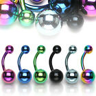 Titanium Anodized over 316L Surgical Steel Navel Ring with Balls