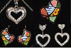 Heart Necklaces colorful pop art patchwork, Heart earrings IN USA & Ship Fr