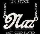 Name Necklace NAZ 18ct Gold Plated Personalised Custom Fashion Jewelery Gifts