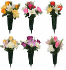 Artificial Flowers Rose Open Rose Lily Cemetery Pot Spike Memorial Grave Tribute