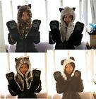 Multifuctional Faux Fur Animal Hood Hat Scarfs Mitten 3 in 1 Function 4 style