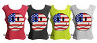 NEW WOMENS LADIES AMERICAN STARS STRIPES SMILEY FACE VEST TOP UK SIZE 8-14