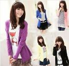 fashion woman Plain Casual Candy Color thin cotton cardigan Jacket tops large