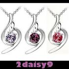 Elegant Silver Necklace 18k White Gold Plated with Swarovski Elements Crystal