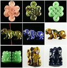 098  Carved kinds of stone tiger fortune cat China-knot figurine pendant bead