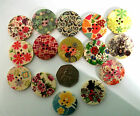 "30mm app1.3/16"" WOODEN / ACRYLIC BUTTONS. NEW PATTERNS - .UK SELLER"