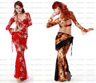 NEW 3 PCS Belly Dance Lace Costume Set - Overall + Sleeves + Hip Scarf Belt