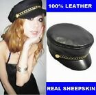 New Fashion Women' Men's 100% Real Leather Newsboy Cap/ Sailor Hat /Army Hats