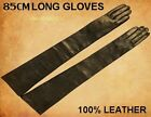 "85cm(33.5"") Women's(100% Real Leather)Super soft Black Long Opera Evening Gloves"