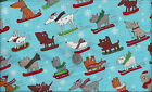 Snow Dogs on Skis Boards Sleds I Spy Winter X treme Sports Fabric  Fat Quarter