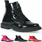GIRLS PATENT HIGH TOP ANKLE BOOTS SCHOOL SHOES KIDS CASUAL TRAINERS SIZES 10-3UK