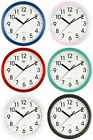 Silent Round Wall Clock • Quartz Sweep Movement • Quiet no ticking •  Colours