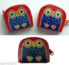 Owl Leather Zip Coin Purse Lady Girl Gift Orange Pink or Red Animal Bird New