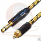 Gold RCA to JACK audio cable. Long Jack to Phono Lead. Braided Vintage Retro