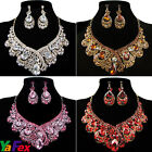 HUGE TEAR DROP PARTY WEDDING CLEAR RHINESTONE BRIDAL RUNWAY NECKLACE SET